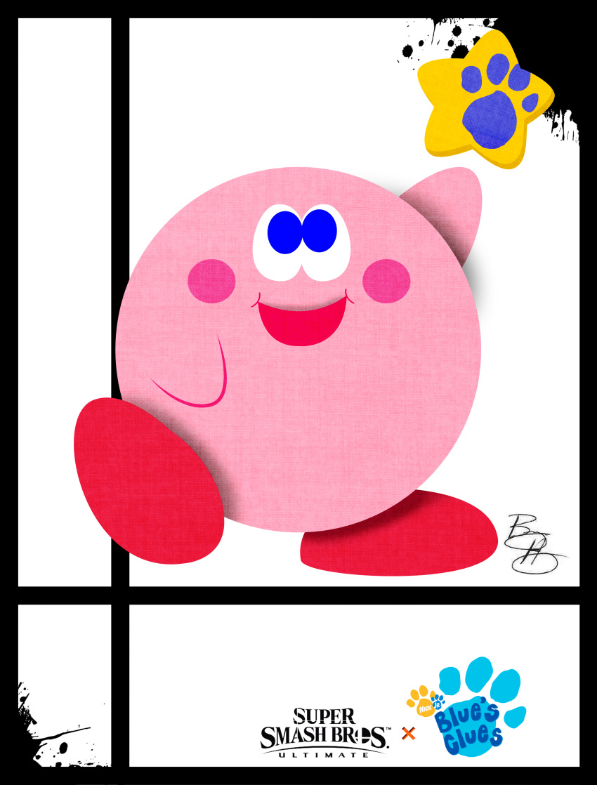 1other artist_name blue's_clues blue_eyes blush_stickers hal_laboratory_inc. hoshi_no_kirby kirby kirby_(series) male nick_jr nickelodeon nintendo no_humans parody paw pink_puff_ball smile solo sora_(company) star style_parody super_smash_bros. super_smash_bros._ultimate super_smash_bros_64 traci_paige_johnson_(style) viacom xeternalflamebryx