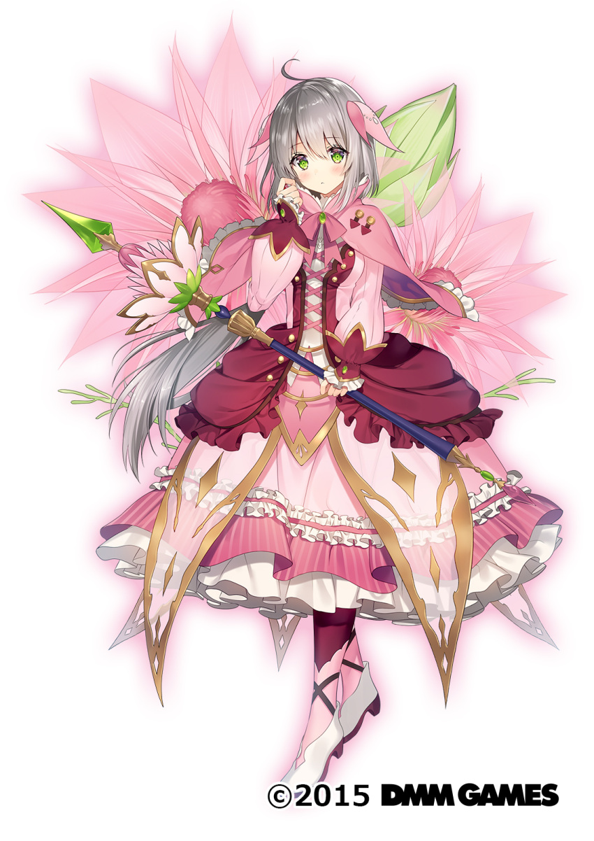 1girl ahoge bangs blush capelet commentary_request dress eyebrows_visible_through_hair floral_background flower flower_knight_girl frilled_dress frills full_body green_eyes grey_hair hair_ornament highres holding holding_staff holding_weapon long_hair looking_at_viewer necomi official_art pink_dress serruria_(flower_knight_girl) shoes simple_background solo staff watermark weapon white_background