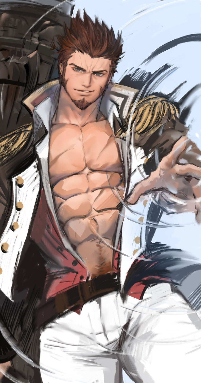 1boy abs absurdres bara beard belt blue_eyes brown_hair chest epaulettes facial_hair fate/grand_order fate_(series) highres huge_weapon jacket jang_ju_hyeon long_sleeves looking_at_viewer male_focus military military_uniform muscle napoleon_bonaparte_(fate/grand_order) open_clothes open_jacket pants pectorals pubic_hair scar sideburns simple_background smile smirk solo teeth uniform upper_body weapon