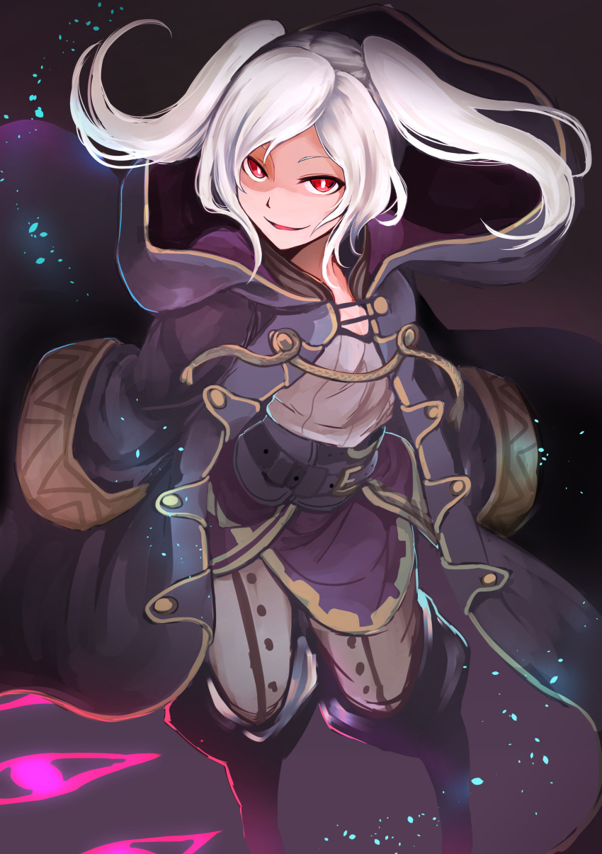 1girl absurdres commentary_request corruption dark_background dark_persona evil_grin evil_smile female_my_unit_(fire_emblem:_kakusei) fire_emblem fire_emblem:_kakusei fire_emblem_awakening fire_emblem_heroes gimurei glowing grima_(fire_emblem) grin highres intelligent_systems long_sleeves looking_at_viewer medium_hair my_unit_(fire_emblem:_kakusei) nakabayashi_zun nintendo red_eyes reflet robe robin_(fire_emblem) robin_(fire_emblem)_(female) shaded_face smile solo super_smash_bros. twintails white_hair