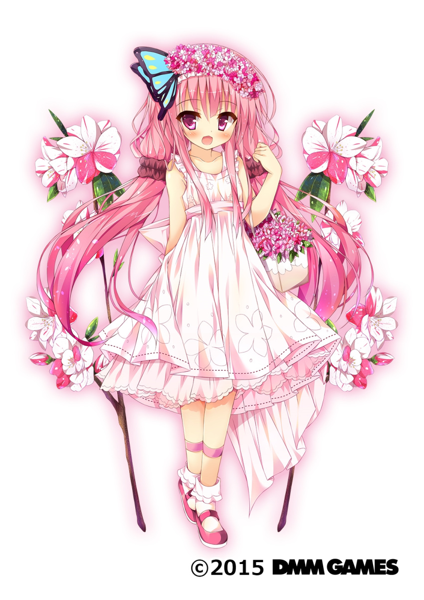 1girl blush butterfly_hair_ornament collarbone copyright_name dmm dress eyebrows_visible_through_hair flower flower_basket flower_knight_girl full_body hair_flower hair_ornament hanamomo_(flower_knight_girl) highres huei_nazuki long_hair looking_at_viewer object_namesake official_art open_mouth pink_eyes pink_footwear pink_hair sleeveless solo standing tagme twintails white_background white_dress