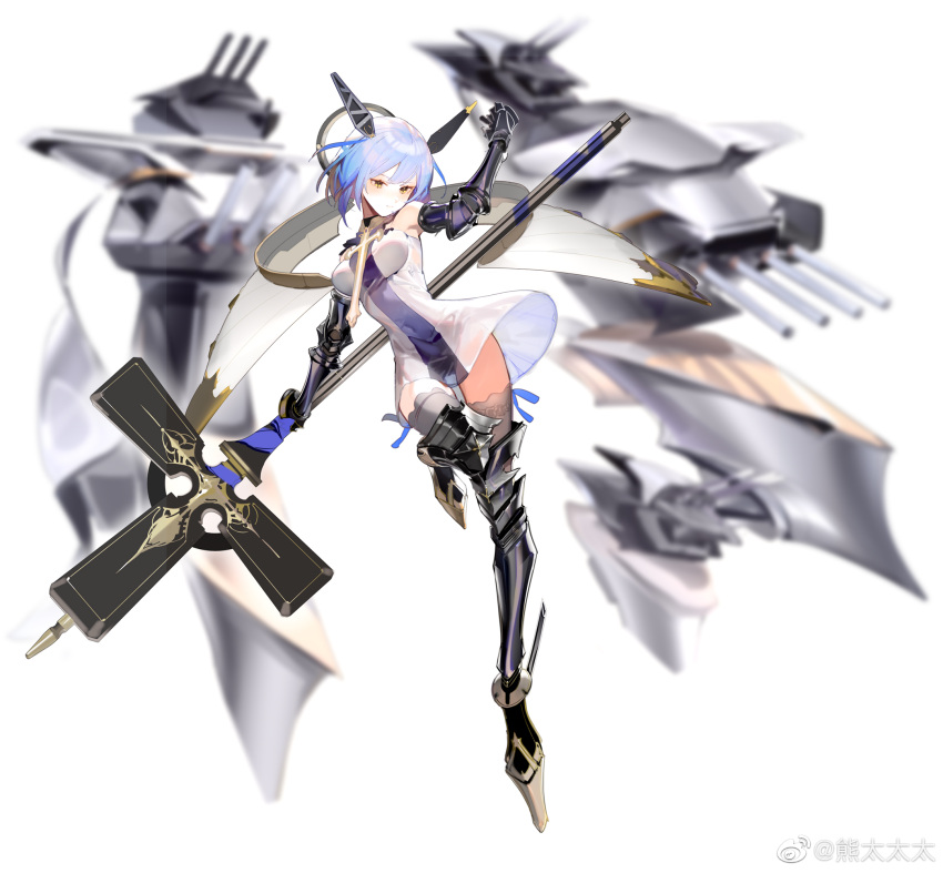 1girl azur_lane blue_hair blurry boots breasts covered_navel depth_of_field dress elbow_gloves full_body gascogne_(azur_lane) gauntlets gloves greaves happytreefriendspikapika headgear high_heel_boots high_heels highres mechanical_halo medium_breasts polearm see-through_silhouette short_dress short_hair simple_background solo standing standing_on_one_leg thigh-highs weapon weibo_username white_background yellow_eyes