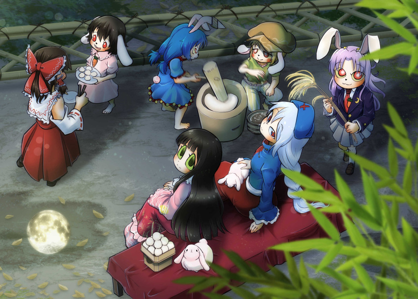 6+girls :3 animal animal_ears animal_on_lap bare_shoulders barefoot black_hair blazer blonde_hair blue_dress blue_hair bow braid bright_pupils brown_headwear bunny_tail chamaji closed_mouth detached_sleeves dress ear_clip eyes floppy_ears food from_above green_eyes grey_hair hair_bow hair_tubes hakurei_reimu hat highres houraisan_kaguya inaba_tewi jacket kine long_hair long_sleeves looking_at_another looking_up mallet medium_hair mochi mochitsuki moon_reflection mortar multiple_girls necktie night nontraditional_miko open_mouth outdoors pants puddle purple_hair rabbit rabbit_ears red_eyes reflection reisen_udongein_inaba ribbon-trimmed_sleeves ribbon_trim ringo_(touhou) seiran_(touhou) shirt short_hair short_sleeves single_braid sitting skirt skirt_set sleeveless sleeveless_shirt smile standing tail touhou very_long_hair water white_pupils wide_sleeves yagokoro_eirin