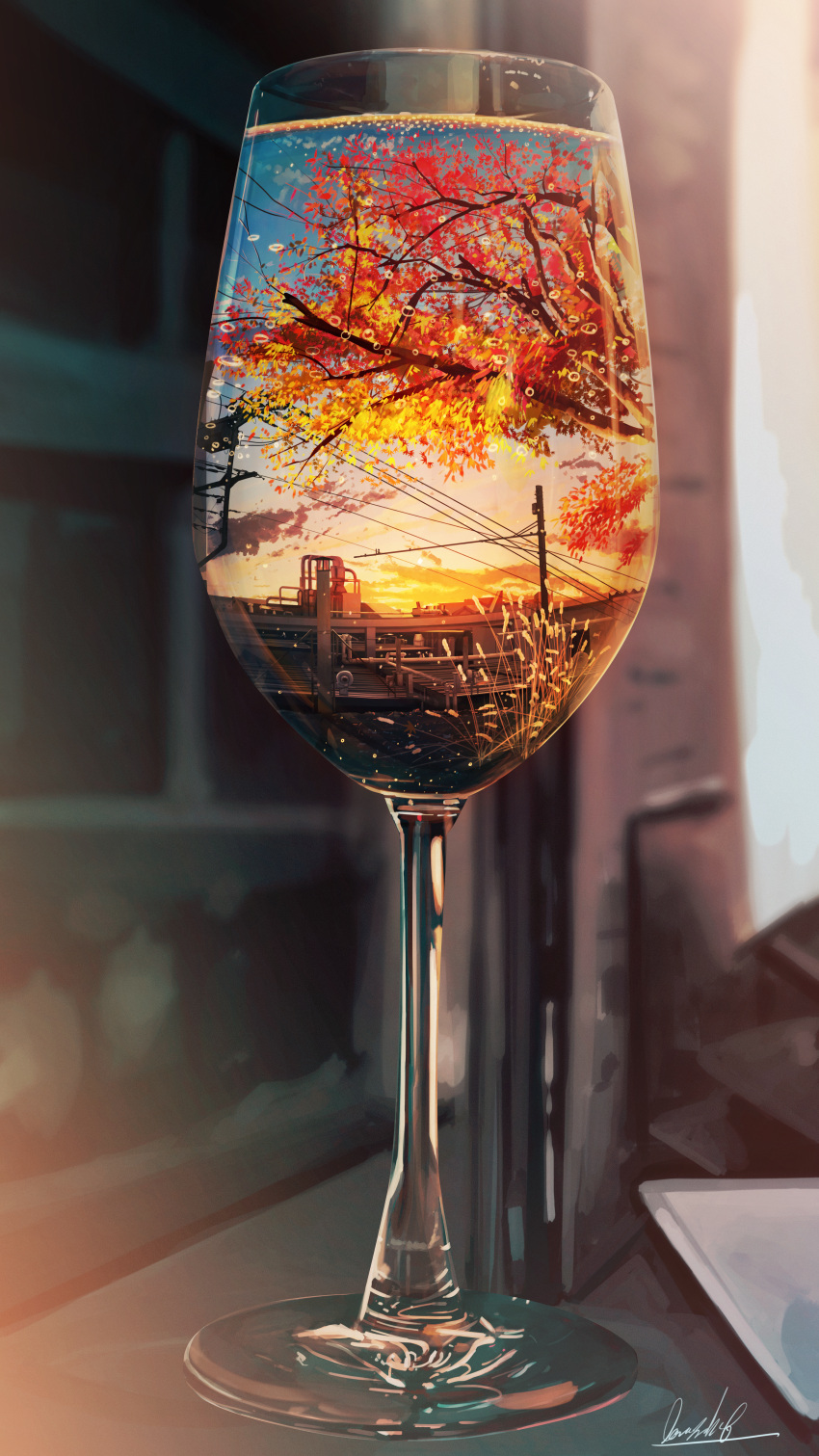 absurdres artist_name autumn_leaves banishment blurry blurry_background branch clouds commentary_request cup depth_of_field drinking_glass highres huge_filesize leaf no_humans original power_lines reflection scenery sky still_life sunset tree wine_glass