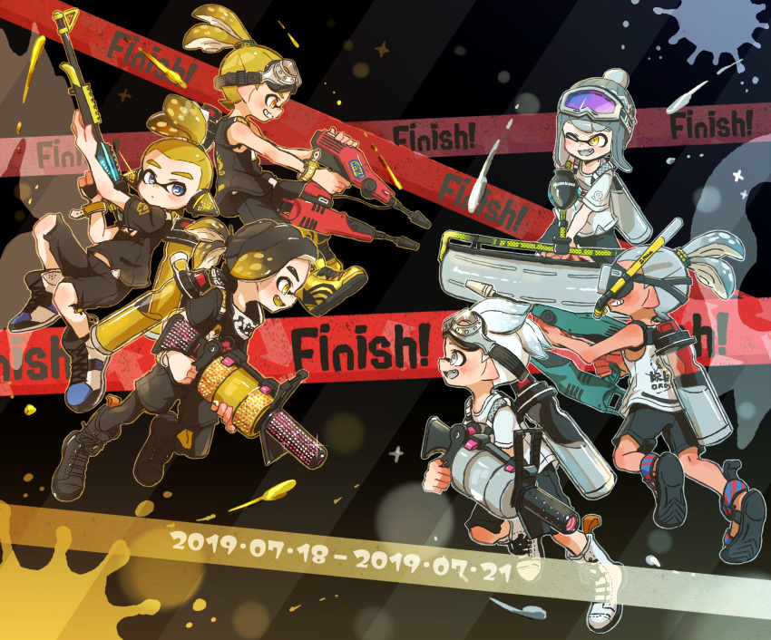 .52_gal_(splatoon) 6+boys absurdres black_footwear black_hair black_legwear black_shirt blonde_hair blue_eyes blue_footwear boots carbon_roller_(splatoon) closed_mouth commentary cross-laced_footwear dated diving_mask domino_mask dual_squelcher_(splatoon) english_text fang goggles goggles_on_head gradient_hair grey_eyes grey_tongue grin harutarou_(orion_3boshi) hero_charger_(splatoon) highres holding holding_weapon ink_tank_(splatoon) inkling jet_squelcher_(splatoon) leggings legwear_under_shorts logo looking_at_another male_focus mask multicolored_hair multiple_boys one_eye_closed open_mouth paint_splatter pantyhose pointy_ears print_shirt sandals scrunchie shirt shoes short_sleeves shorts smile sneakers snorkel splatoon_(series) splatoon_2 standing t-shirt tank_top tentacle_hair topknot weapon white_footwear white_shirt yellow_eyes yellow_footwear yellow_tongue