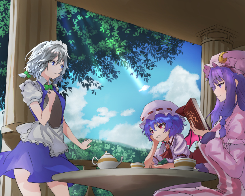 3girls :d akaneko_ken apron ascot bangs bat_wings blue_dress blue_eyes blue_hair blue_sky book bow bowtie braid breasts brooch clouds column commentary_request cowboy_shot crescent crescent_hair_ornament cup day dress eyebrows_visible_through_hair fang frilled_apron frills from_side green_bow green_neckwear hair_between_eyes hair_bow hair_ornament hand_up hat hat_ribbon head_rest highres holding holding_book holding_tray izayoi_sakuya jewelry large_breasts light_rays long_hair long_sleeves looking_at_another maid maid_apron maid_headdress medium_breasts mob_cap multiple_girls open_mouth parted_lips patchouli_knowledge pillar profile puffy_short_sleeves puffy_sleeves purple_dress purple_hair purple_headwear railing red_eyes red_neckwear red_ribbon remilia_scarlet ribbon shirt short_dress short_hair short_sleeves sidelocks silver_hair sitting sky smile standing table teacup teapot touhou tray tree twin_braids violet_eyes waist_apron white_apron white_dress white_headwear white_shirt wings