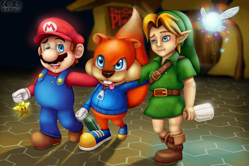 3boys adult animal artist_name bloodshot_eyes blue_eyes boots bottle brown_footwear child conker conker's_bad_fur_day conker_(series) drooling drunk elf fairy furry hat human hylian katakana link looking_at_another mammal mario mario_(series) microsoft milk navi neokeiji night nintendo nintendo_ead no_pants outdoors overalls pixiv_username pointy_ears rareware shoes sneakers squirrel squirrel_ears squirrel_tail starman_(mario) super_mario_bros. super_smash_bros. sweater the_legend_of_zelda the_legend_of_zelda:_ocarina_of_time tongue_out tunic walking wine wine_bottle young young_link zelda_no_densetsu zipper