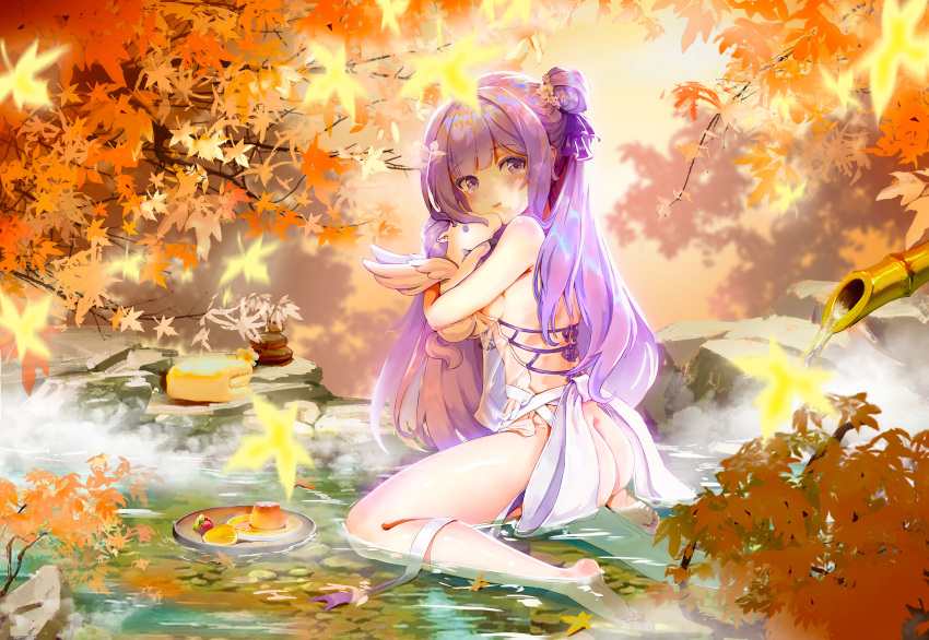 1girl absurdres ahoge ass autumn_leaves azur_lane bamboo blurry breasts commentary_request depth_of_field doll_hug food hair_bun hair_ribbon highres huge_filesize in_water leaf long_hair looking_at_viewer maple_leaf one_side_up onsen parted_lips pudding purple_hair ribbon side_bun sideboob sitting solo steam stuffed_alicorn stuffed_animal stuffed_pegasus stuffed_toy stuffed_unicorn tears theleopardcat unicorn_(azur_lane) violet_eyes wariza