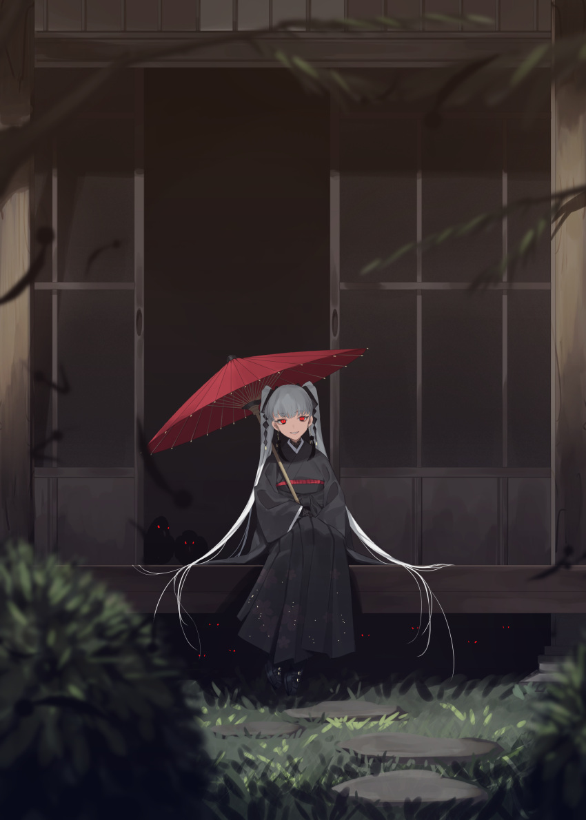 1girl absurdres bird crow earrings full_body grass hair_ribbon highres holding holding_umbrella japanese_clothes jewelry kimono lips long_hair looking_at_viewer naomasap original parasol parted_lips porch red_eyes ribbon shouji sitting sliding_doors slit_pupils smile solo stepping_stones teeth twintails umbrella very_long_hair