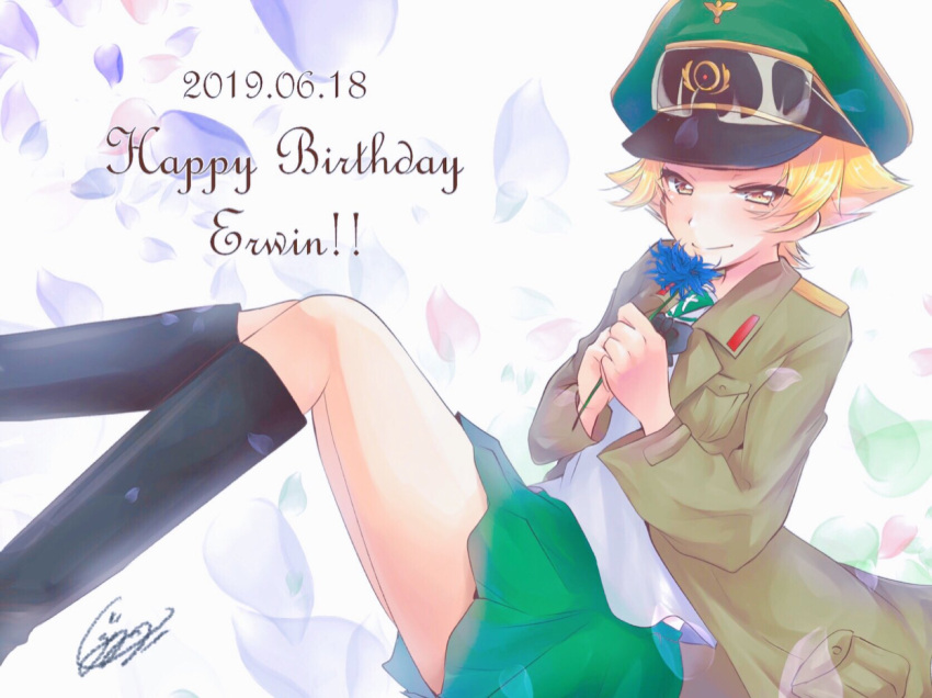 1girl artist_name black_bow black_footwear black_neckwear blonde_hair blue_flower blush boots bow brown_eyes brown_jacket character_name closed_mouth commentary cursive dated erwin_(girls_und_panzer) flower girls_und_panzer goggles goggles_on_headwear green_headwear half-closed_eyes happy_birthday hat highres holding holding_flower jacket jimanaka_(yukinosingun) knee_boots long_sleeves looking_at_viewer military_hat military_jacket ooarai_school_uniform open_clothes open_jacket peaked_cap petals pointy_hair school_uniform short_hair signature smile solo