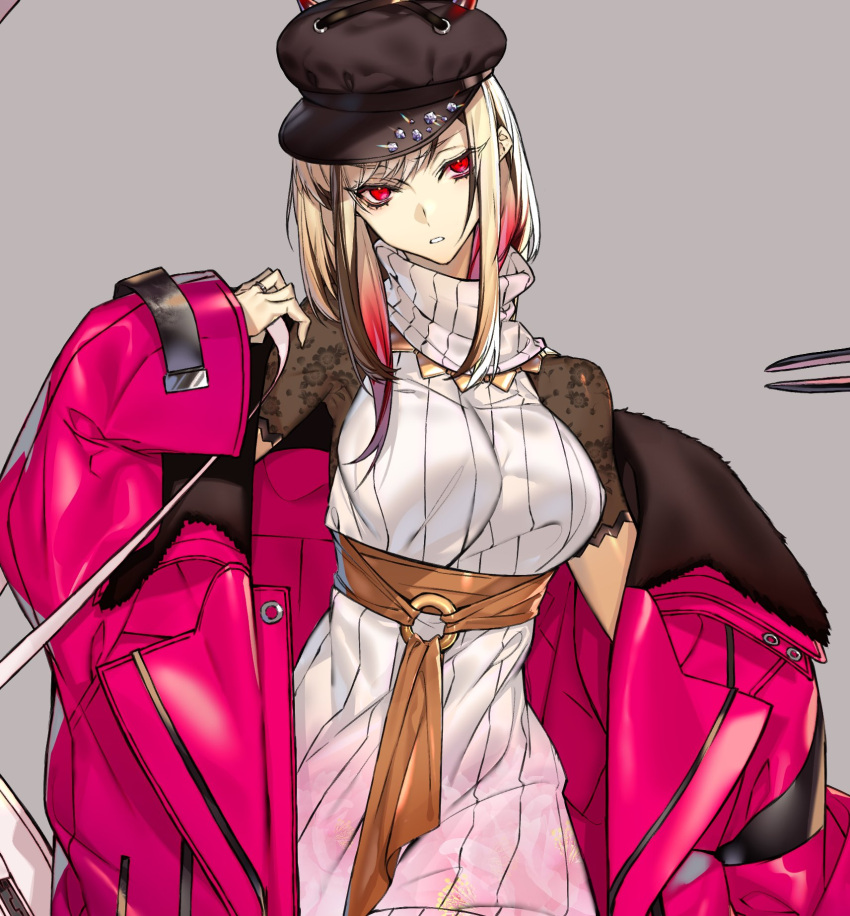 1girl blonde_hair hachizowo hat highres jacket original oversized_clothes red_eyes solo