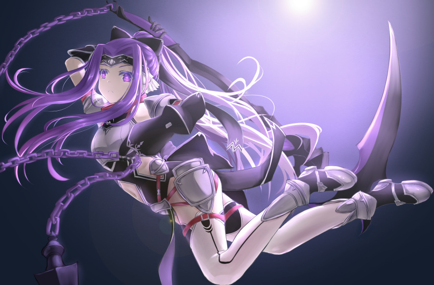 1girl absurdres arm_up armor black_background black_gloves black_leotard boots breastplate chain expressionless fate/grand_order fate_(series) gauntlets gloves headband highres jumping legs leotard long_hair medusa_(lancer)_(fate) navel ponytail purple_hair ribbon satsuki_(swkerc) scythe simple_background solo thigh-highs violet_eyes weapon white_legwear