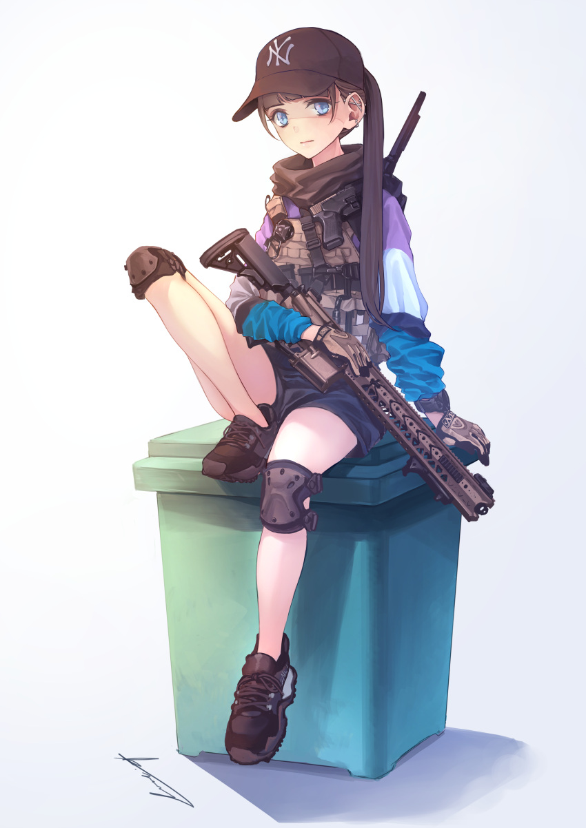 1girl absurdres bangs baseball_cap blue_eyes blunt_bangs brown_hair ear_piercing earrings gloves gun handgun hat highres holding holding_gun holding_weapon jewelry knee_pads koh_(minagi_kou) long_hair looking_at_viewer original piercing shorts shotgun signature sitting solo watch watch weapon white_background