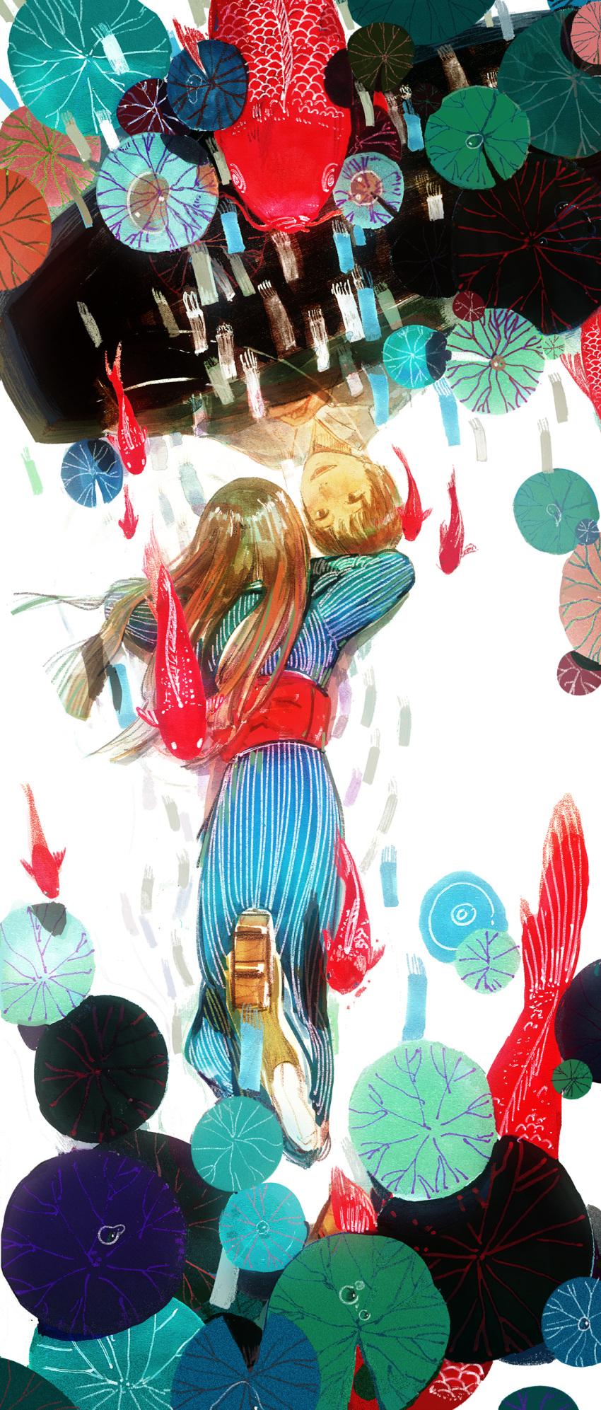 2girls absurdres air_bubble blue_kimono brown_eyes brown_hair bubble different_reflection facing_away foot_up geta h2so4kancel highres japanese_clothes kimono koi lily_pad long_hair long_sleeves looking_at_another lying multiple_girls mushishi obi on_stomach red_sash reflection ripples sash short_hair striped sumi_(mushishi) surreal traditional_media upside-down vertical_stripes watercolor_(medium) white_background yukata yura_(mushishi)
