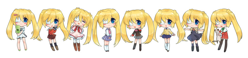 6+girls air angel_beats! blonde_hair blue_eyes blue_sailor_collar blue_skirt camcorder cat charlotte_(anime) chibi clannad company_connection cosplay dress eyepatch highres hikarizaka_private_high_school_uniform hoshinoumi_academy_uniform kamio_misuzu kamio_misuzu_(cosplay) kanon key_(company) little_busters! long_image may_salamanya medical_eyepatch multiple_girls multiple_persona nakatsu_shizuru pink_dress piro rewrite sailor_collar school_uniform serafuku shinda_sekai_sensen_uniform skirt summer_pockets tomori_nao tomori_nao_(cosplay) twintails water_gun white_background white_serafuku white_skirt wide_image