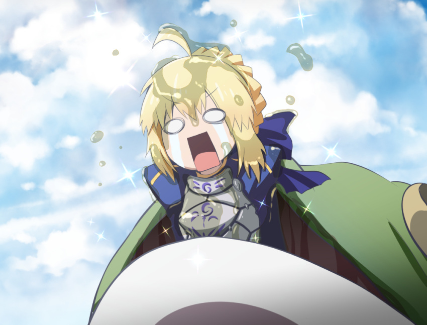 1girl ahoge aqua_(konosuba) armor artoria_pendragon_(all) blonde_hair blue_bow bow braid clouds commentary_request day eating eyebrows_visible_through_hair fate_(series) frog fujitaka_nasu hair_between_eyes hair_bow kono_subarashii_sekai_ni_shukufuku_wo! no_pupils open_mouth outdoors puffy_sleeves saber slime solo