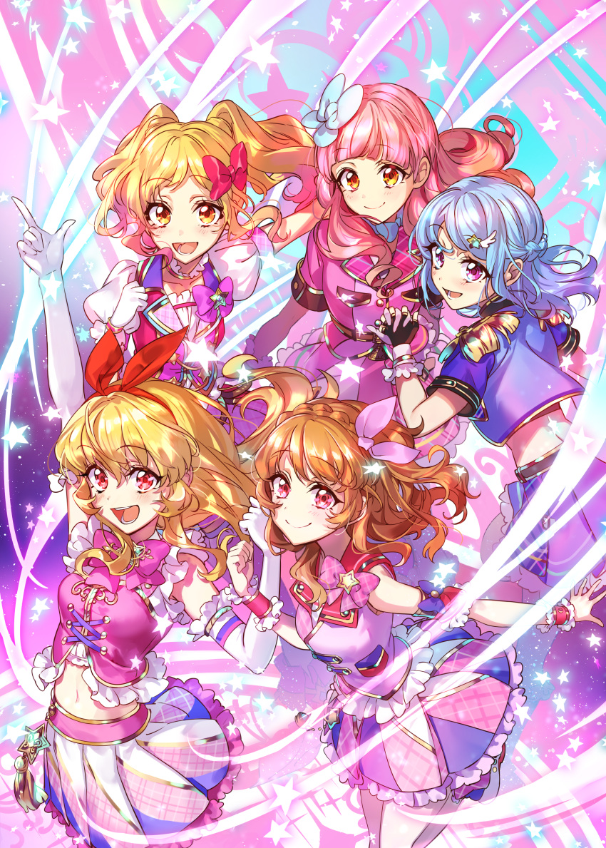 5girls absurdres aikatsu! aikatsu!_(series) aikatsu_friends! aikatsu_stars! arm_cuffs arm_up blonde_hair blue_bow blue_hair blue_jacket blush bow bow_choker braid closed_mouth commentary_request crown_braid elbow_gloves epaulettes gloves gradient_hair hair_bow hair_ornament hairband hands_together highres holding_hands hoshimiya_ichigo idol idol_clothes interlocked_fingers jacket long_hair midriff minato_mio multicolored_hair multiple_girls navel nijino_yume oozora_akari open_mouth orange_hair pink_bow pink_hair pointing pointing_up puffy_short_sleeves puffy_sleeves purple_hair red_bow red_eyes shoes short_sleeves skirt sleeveless smile star star_hair_ornament teeth twintails violet_eyes wattaro wing_hair_ornament wrist_cuffs yuuki_aine