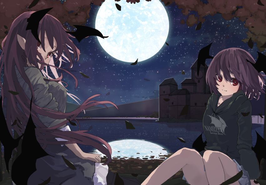 2girls alternate_costume black_hoodie building casual clothes_writing commentary_request contemporary demon_wings dual_persona feathers feet_out_of_frame full_moon futatsuki_eru grey_shirt grey_skirt head_wings hood hoodie knees_up koakuma lake long_hair long_sleeves looking_at_viewer low_wings mansion miniskirt misty_lake moon multiple_girls night night_sky outdoors pleated_skirt pointy_ears red_eyes redhead reflection scarlet_devil_mansion shirt short_hair sitting skirt sky sleeves_rolled_up touhou wings