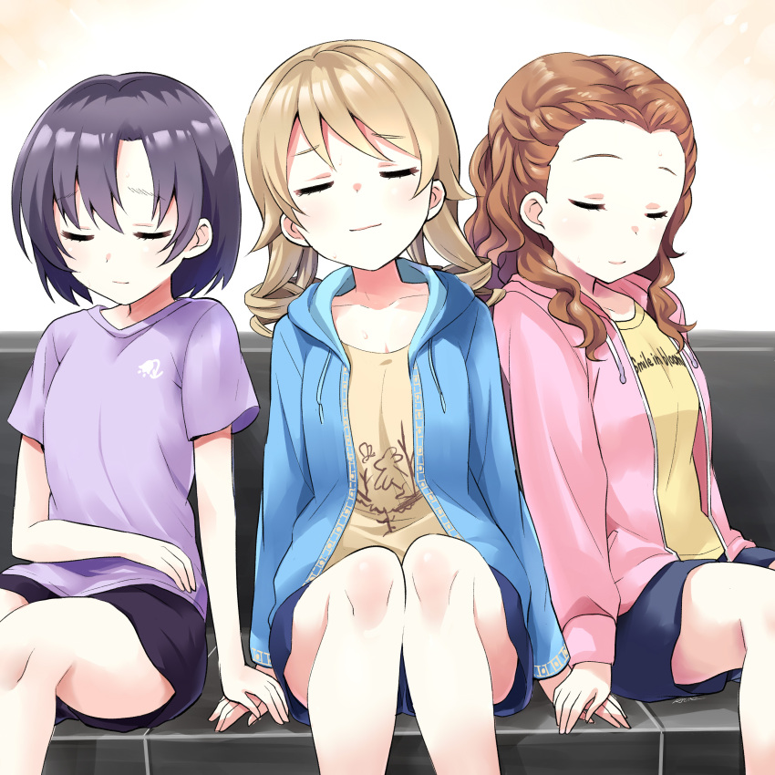 3girls absurdres bangs black_skirt blue_jacket blue_shorts blush breasts brown_hair brown_shirt closed_eyes closed_mouth collarbone commentary_request couch drawstring eyebrows_visible_through_hair facing_viewer forehead girl_sandwich hair_between_eyes hands_together highres holding_hands hood hood_down hooded_jacket idolmaster idolmaster_cinderella_girls idolmaster_cinderella_girls_starlight_stage jacket light_brown_hair long_hair morikubo_nono multiple_girls on_couch open_clothes open_jacket pink_jacket purple_hair purple_shirt ringlets ryuki_(ryukisukune) sandwiched seki_hiromi shiragiku_hotaru shirt short_shorts shorts signature sitting skirt small_breasts smile yellow_shirt