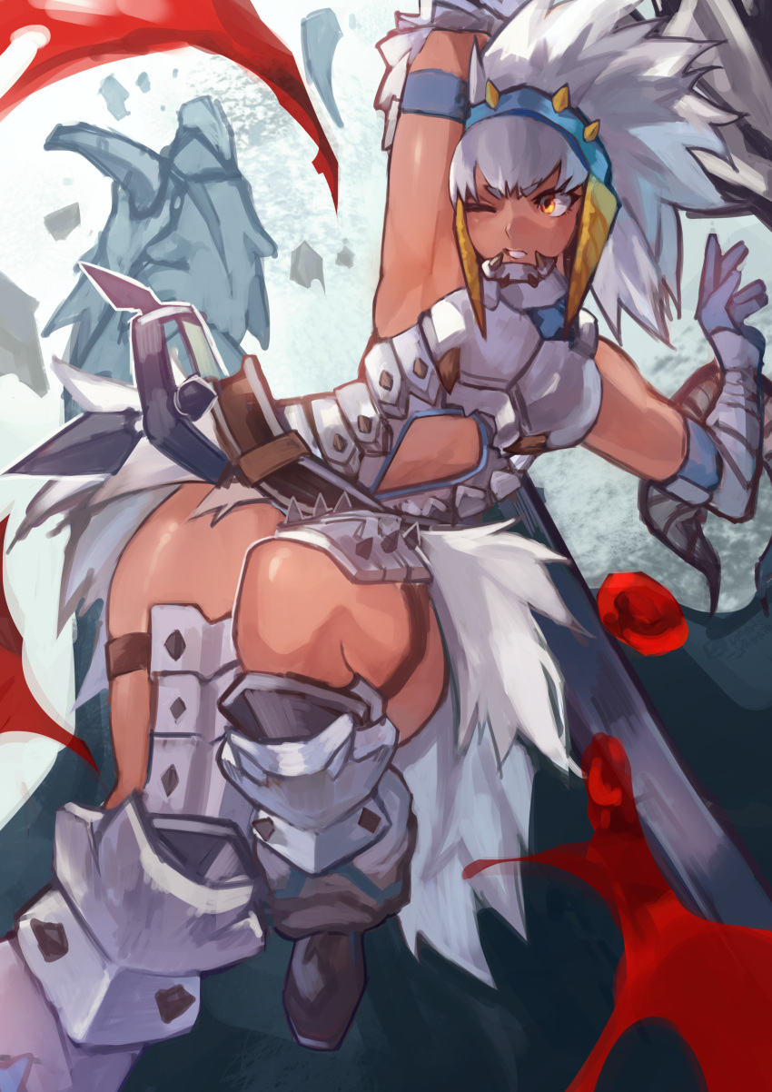 1girl absurdres arm_up armor armored_dress armpits barioth barioth_(armor) battle big_hair blood breastplate center_opening commentary_request dark_skin faulds gauntlets greaves headgear highres holding holding_weapon huge_weapon medium_hair monster monster_hunter monster_hunter:_world one_eye_closed orange_eyes short_eyebrows silver_hair solo_focus uedrk_yamato weapon