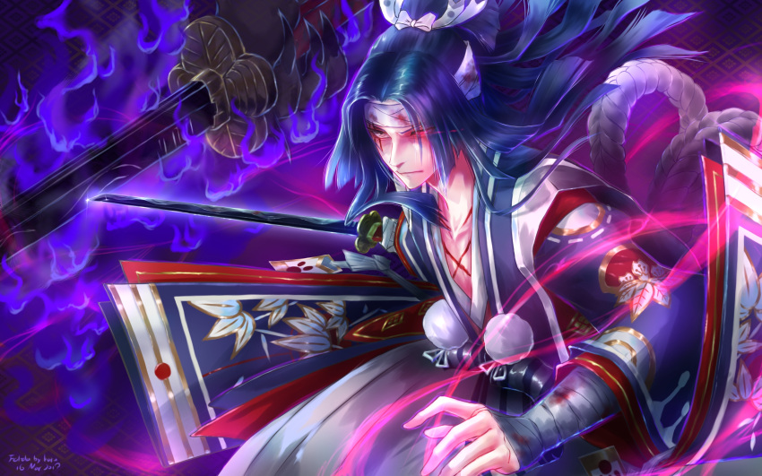 1boy bandaged_arm bandages black_hair blood closed_mouth collarbone dark_background eyes_visible_through_hair glowing glowing_eye highres holding holding_sword holding_weapon japanese_clothes long_hair long_sleeves looking_to_the_side male_focus onikiri_(onmyoji) onmyoji pom_pom_(clothes) solo sword user_exvv8824 weapon