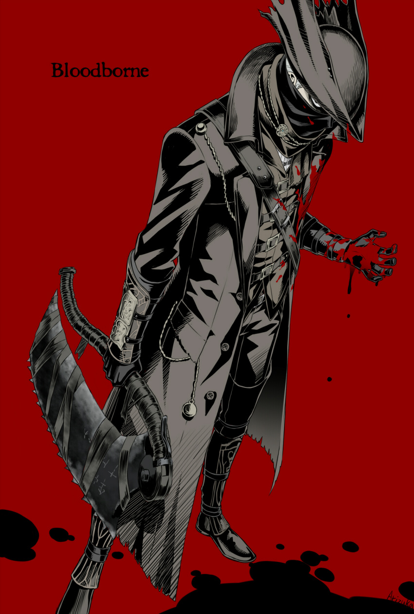 1boy angry arizuka_(catacombe) black_blood blood bloodborne bloody_clothes boots commentary_request copyright_name face_mask full_body hat highres holding holding_weapon jacket looking_at_viewer mask red_background solo standing weapon