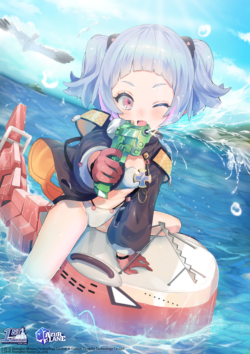 1girl azur_lane bangs bird blue_hair blunt_bangs breasts child copyright_name eyebrows_visible_through_hair gloves highres long_sleeves looking_at_viewer ocean official_art one_eye_closed open_mouth red_eyes riding seagull short_hair short_twintails sinomi small_breasts smile solo spread_legs swimsuit twintails u-556_(azur_lane) water water_gun wet