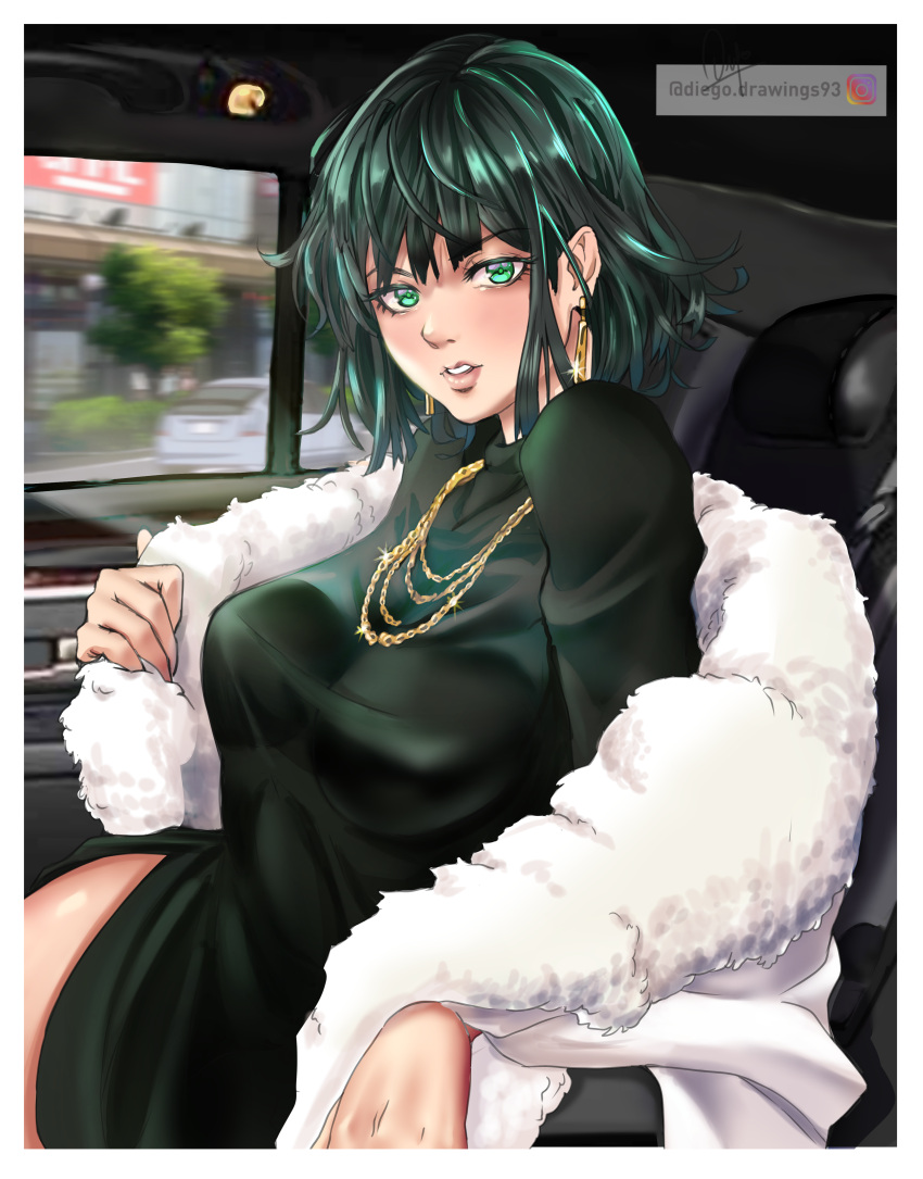 1girl absurdres bangs blunt_bangs breasts car car_interior diegodraws dress earrings fubuki_(one-punch_man) fur_coat green_dress green_eyes green_hair ground_vehicle highres instagram_username jewelry large_breasts looking_at_viewer motor_vehicle necklace one-punch_man parted_lips pov short_hair side_slit storefront thighs tree window
