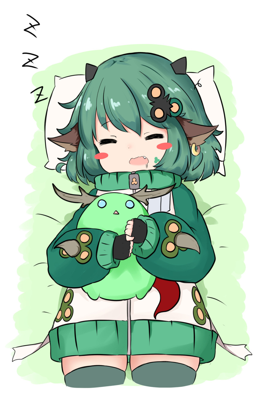 1girl =_= animal_ears antlers bailingxiao_jiu bangs bed_sheet black_gloves blush_stickers cowboy_shot creature cropped_legs drooling ear_piercing eyebrows_visible_through_hair facial_mark fang fingerless_gloves gloves green_hair grey_legwear hair_ornament highres horns hug jacket long_sleeves lying on_back open_mouth original piercing pillow puffy_long_sleeves puffy_sleeves saliva sleeping sleeves_past_wrists solo wavy_mouth white_jacket zzz