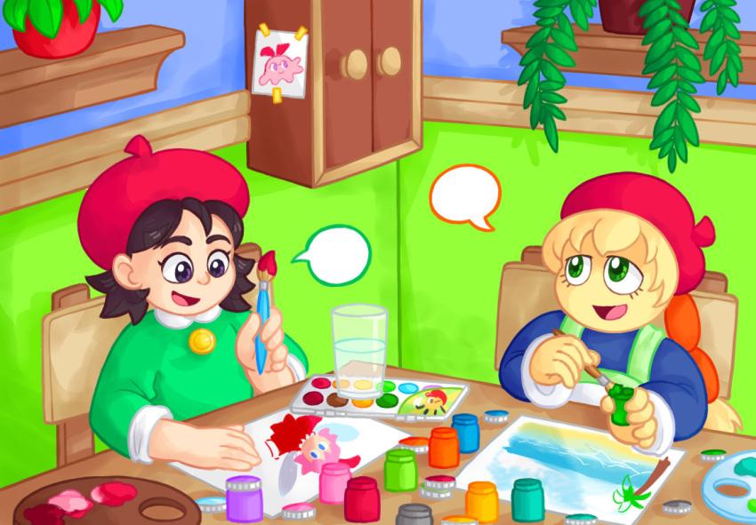 2girls adeleine bubble_speech cameo character_print chuchu_(kirby) fumu_(kirby) glass green_eyes hal_laboratory_inc. hoshi_no_kirby hoshi_no_kirby_(anime) hoshi_no_kirby_64 katyahina kirby:_right_back_at_ya! kirby:_star_allies kirby_(series) kirby_64 kirby_64:_the_crystal_shards nintendo paintbrush painting ribbon_(kirby) tagme tiff_(kirby) toei_animation warpstar_inc.
