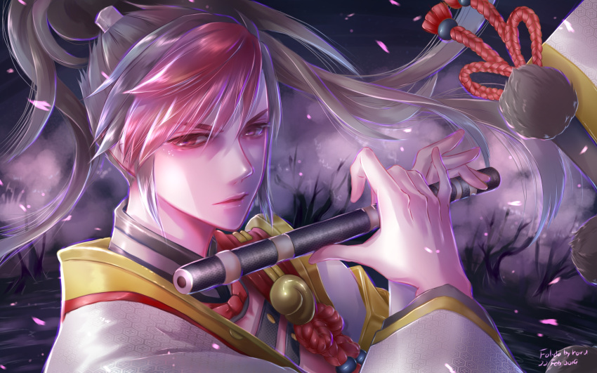 1boy asymmetrical_bangs bangs black_hair closed_mouth collar dark_background flute high_ponytail highres holding holding_flute holding_instrument instrument japanese_clothes looking_at_viewer male_focus minamoto_no_hiromasa multicolored_hair onmyoji red_eyes redhead solo tree two-tone_hair user_exvv8824