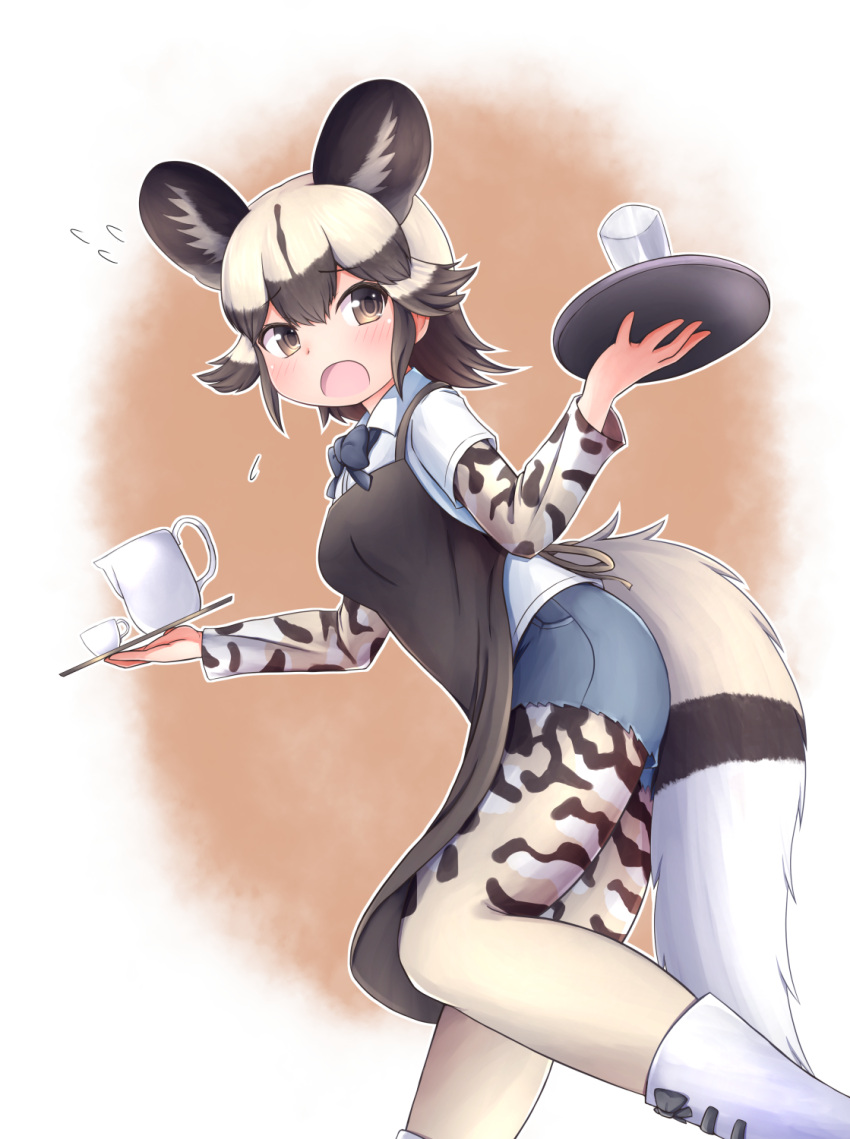 1girl african_wild_dog_(kemono_friends) african_wild_dog_print animal_ears animal_print apron blush bodystocking boots bow bowtie brown_eyes brown_hair cup dog_ears dog_tail extra_ears eyebrows_visible_through_hair flying_sweatdrops from_side furrowed_eyebrows hands_up highres holding holding_tray kemono_friends leaning_forward light_brown_hair long_sleeves looking_at_viewer medium_hair multicolored_hair nina_yuki open_mouth shirt short_over_long_sleeves short_sleeves shorts sidelocks solo tail tray two-tone_hair