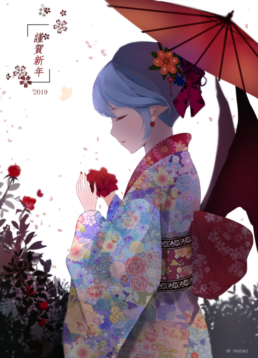 1girl 2019 artist_name bat_wings closed_eyes commentary_request earrings floral_print flower from_side hair_ornament hair_up happy_new_year highres holding holding_flower japanese_clothes jewelry kimono new_year oriental_umbrella parted_lips petals print_kimono profile red_flower red_nails red_rose remilia_scarlet rose snozaki solo touhou umbrella unmoving_pattern white_background wings