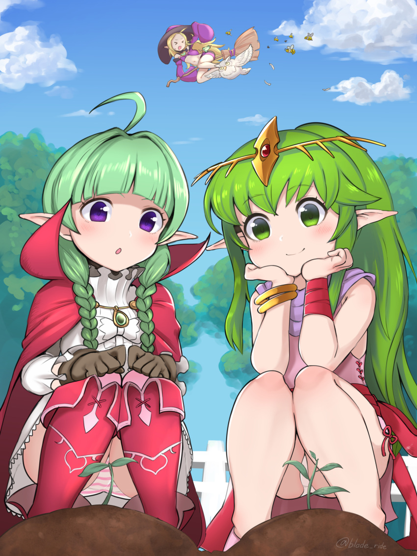 >_< 3girls absurdres ahoge bee bird blade_ride blonde_hair blue_sky bracelet braid broom broom_riding brown_gloves bug closed_mouth clouds day dress feh_(fire_emblem_heroes) fence fire_emblem fire_emblem:_mystery_of_the_emblem fire_emblem_awakening fire_emblem_heroes gloves green_eyes green_hair hat highres insect jewelry long_hair long_sleeves multiple_girls nah_(fire_emblem) nowi_(fire_emblem) open_mouth outdoors owl panties pantyshot pink_dress pointy_ears sky sleeves_past_fingers sleeves_past_wrists smile squatting striped striped_panties tiara tiki_(fire_emblem) tree twin_braids twitter_username underwear violet_eyes white_panties witch_hat