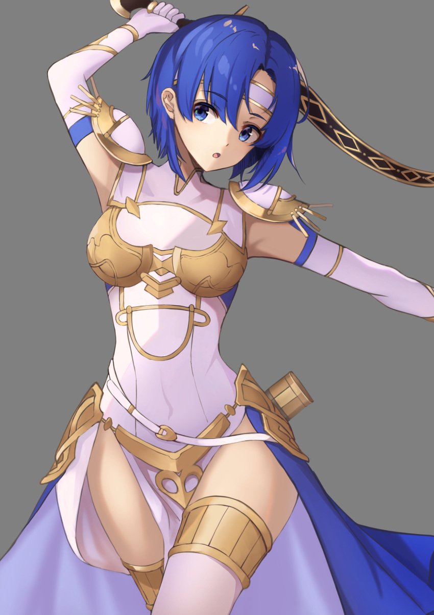 +5cm 1girl :o absurdres arm_up armpits bangs blue_eyes blue_hair breastplate breasts catria_(fire_emblem) covered_navel cowboy_shot dress elbow_gloves eyebrows_visible_through_hair faulds fire_emblem fire_emblem_heroes gloves grey_background head_tilt highres holding holding_sword holding_weapon looking_at_viewer medium_breasts open_mouth outstretched_arm parted_bangs pauldrons pelvic_curtain short_hair shoulder_armor simple_background solo sword thigh-highs thighs waist_cape weapon white_dress white_gloves white_legwear