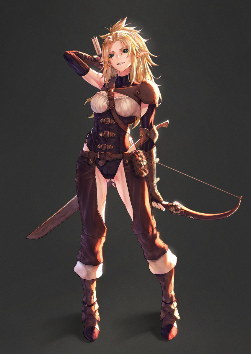 1girl armor ass_visible_through_thighs bangs between_breasts blonde_hair boots bow_(weapon) breasts brown_footwear brown_gloves buckle chaps elf facial_scar fingerless_gloves full_body gloves green_eyes grin highres holding holding_bow_(weapon) holding_weapon leather_armor leotard long_hair looking_at_viewer medium_breasts mugetsu2501 original parted_bangs pointy_ears pouch scar scar_on_cheek shoulder_armor sidelocks single_elbow_pad smile solo standing strap_between_breasts weapon