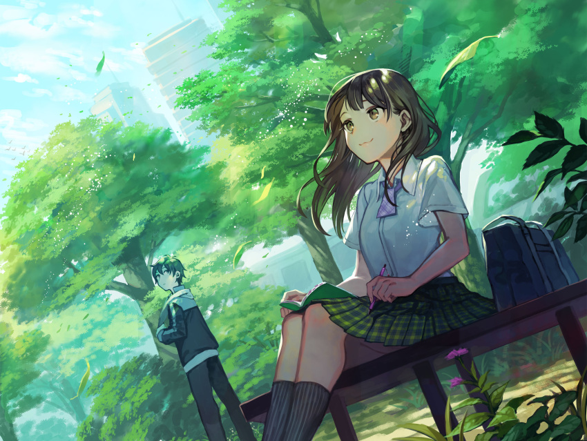 1boy 1girl :3 absurdres ankle_socks ascot bag bench black_hair blush brown_eyes building city clouds dutch_angle flower highres kururi leaf light_particles long_hair looking_at_another looking_back music notebook original outdoors park pin plaid plaid_skirt scenery school_bag school_uniform short_hair short_sleeves singing sitting skirt sky smile summer towel track_suit tree wind