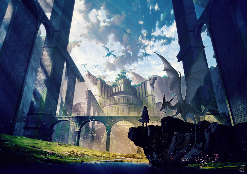 1girl arch bridge building cloak clouds cloudy_sky commentary_request creature day dragon fantasy flower grass leash light_rays looking_away megastructure mocha_(cotton) original outdoors scenery signature sky solo sunbeam sunlight very_wide_shot water