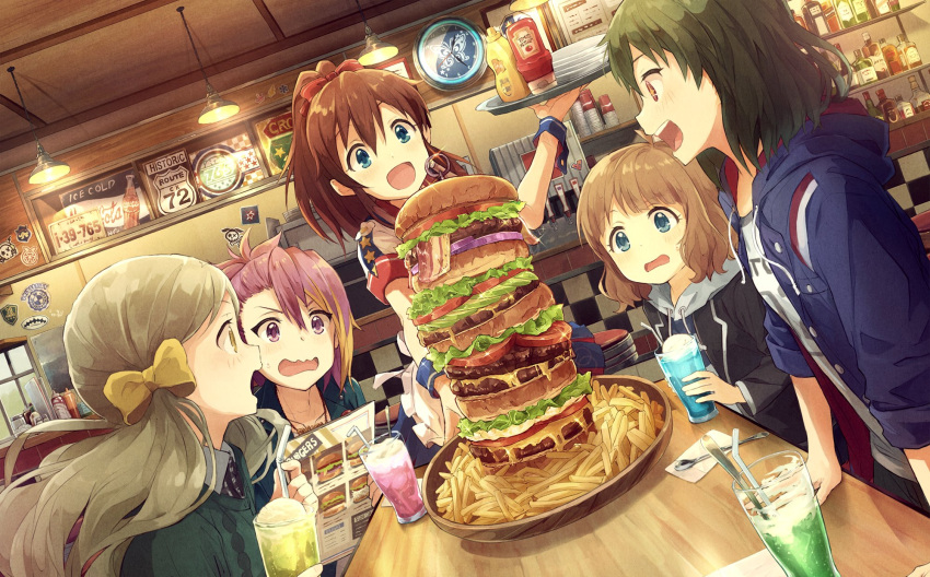 5girls bacon blue_eyes brown_hair diner dutch_angle fast_food food food_awe french_fries hamburger handa_roko highres hood hoodie ice_cream ice_cream_float idolmaster idolmaster_million_live! ketchup long_hair maihama_ayumu marimo_(momiage) menu multiple_girls mustard nagayoshi_subaru open_mouth pink_hair ponytail restaurant satake_minako short_hair sparkle suou_momoko too_much_hamburger