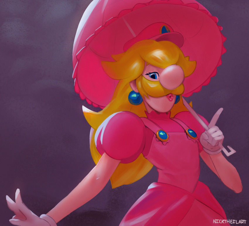 1boy absurdres artist_name big_nose blonde_hair blue_eyes dress english_commentary facial_hair fusion gloves half-closed_eyes hand_up hat highres holding lips long_hair looking_at_viewer luigi mario_&_luigi_rpg mario_(series) mustache nicholas_theil nintendo nintendo_ead open_mouth parasol pink_dress pink_headwear princess_peach princess_peach_(cosplay) puffy_short_sleeves puffy_sleeves purple_background shiny shiny_hair short_sleeves signature simple_background solo standing super_mario_bros. suspenders trap umbrella upper_body white_gloves