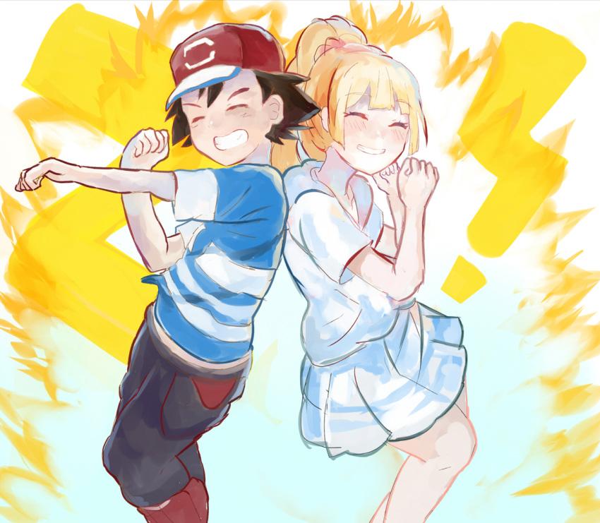 1boy 1girl black_hair blonde_hair kuriyama lillie_(pokemon) pokemon pokemon_(anime) pokemon_sm_(anime) satoshi_(pokemon)