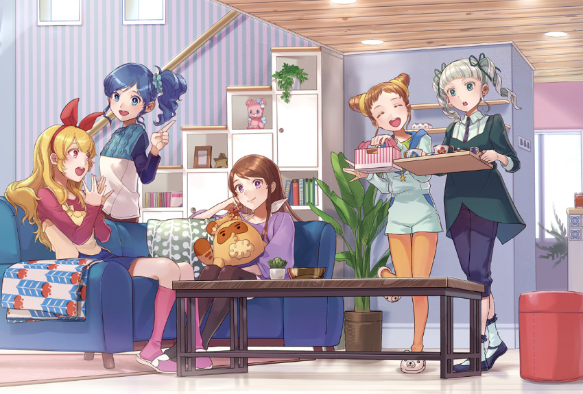 5girls :d :o ^_^ aikatsu! aikatsu!_(series) arisugawa_otome bangs bear_slippers black_pants blanket blonde_hair blue_eyes blue_hair blue_skirt blunt_bangs blush bookshelf bow bowl brown_hair brown_legwear cactus camisole camisole_over_clothes ceiling_light cherico closed_eyes coffee_table couch cup double_bun dress drill_hair facing_viewer floor green_dress hair_bow hair_ornament hair_ribbon hairband halterneck holding holding_tray hoshimiya_ichigo index_finger_raised indoors kiriya_aoi legwear_under_shorts light_switch living_room long_hair long_sleeves looking_at_another looking_at_viewer multiple_girls on_couch open_mouth orange_hair orange_legwear pants pants_under_dress pantyhose pastry_box picture_frame pink_footwear pink_legwear plant potted_plant red_eyes ribbon rug shibuki_ran shorts side_ponytail sitting skirt sleeveless_sweater slippers smile socks standing standing_on_one_leg star striped stuffed_animal stuffed_raccoon stuffed_toy swept_bangs talking teacup teddy_bear thigh_gap toudou_yurika tray twin_drills twintails vertical_stripes violet_eyes w walking wallpaper_(object) white_footwear wooden_ceiling