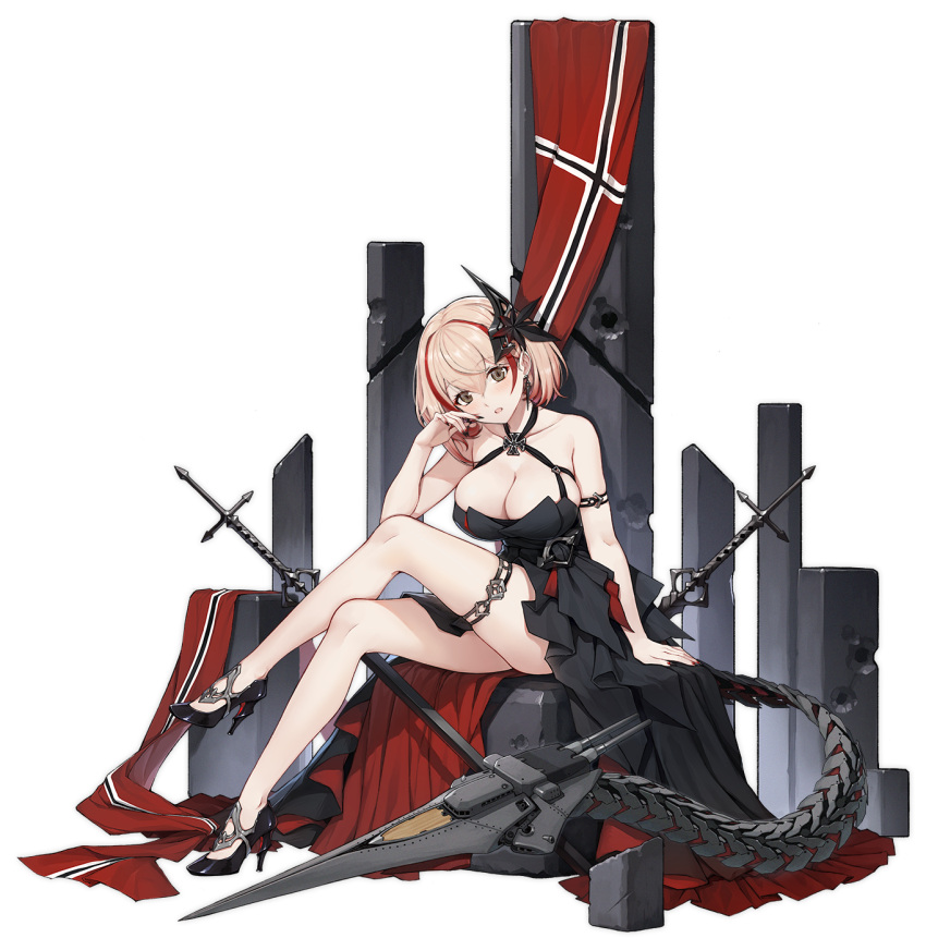 1girl :d alternative_costume arm_strap arm_support azur_lane bangs bare_shoulders black_dress black_footwear black_nails blush breasts brown_eyes cannon cleavage cross cross_earrings crossed_legs dress earrings eyebrows_visible_through_hair female flag full_body german_flag hair_ornament halter_dress hand_up head_tilt high_heels high_resolution iron_cross jewelry large_breasts leaning_forward logo looking_at_viewer multicolored_hair nail_polish official_art open_mouth pumps redhead rigging roon_(azur_lane) roon_(dark_red_grin)_(azur_lane) shoes sidelocks skindentation solo stiletto_heels streaked_hair tachi-e tareme terras thigh_strap thighs transparent_background turret