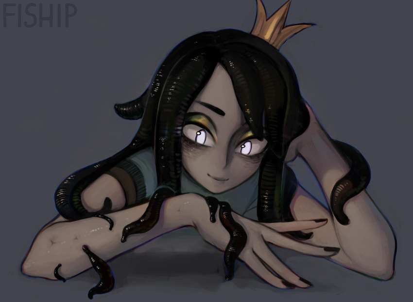 1girl artist_name black_hair black_nails commentary crown elbow_rest english_commentary grey_background grey_skin highres leech leech_queen_(matilda_fiship) matilda_fiship mini_crown monster_girl nail_polish original short_sleeves simple_background smile solo tentacle_hair white_eyes