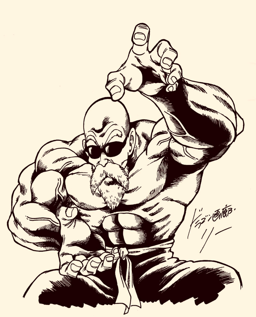 1boy abs bald beard dragon_ball dragon_ball_(classic) facial_hair fighting_stance highres ink_(medium) lee_(dragon_garou) male_focus monochrome muscle muten_roushi shirtless signature solo squatting sunglasses traditional_media upper_body veins