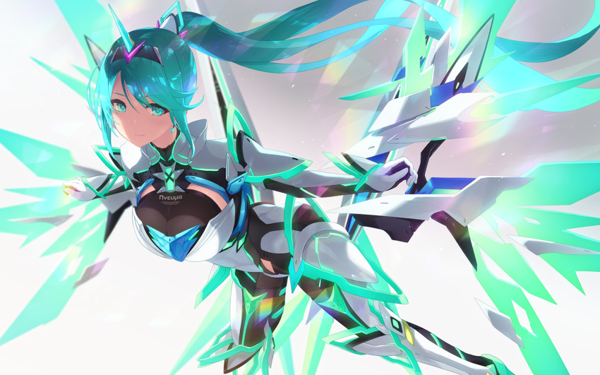 1girl armor armored_bodysuit bangs blush bodysuit breasts cait detached_wings earrings energy_wings floating_hair gem gloves hair_ornament headpiece highres jewelry large_breasts leaning_forward light_particles long_hair looking_at_viewer neon_trim pneuma_(xenoblade_2) ponytail sidelocks smile solo swept_bangs tiara very_long_hair wings xenoblade_(series) xenoblade_2
