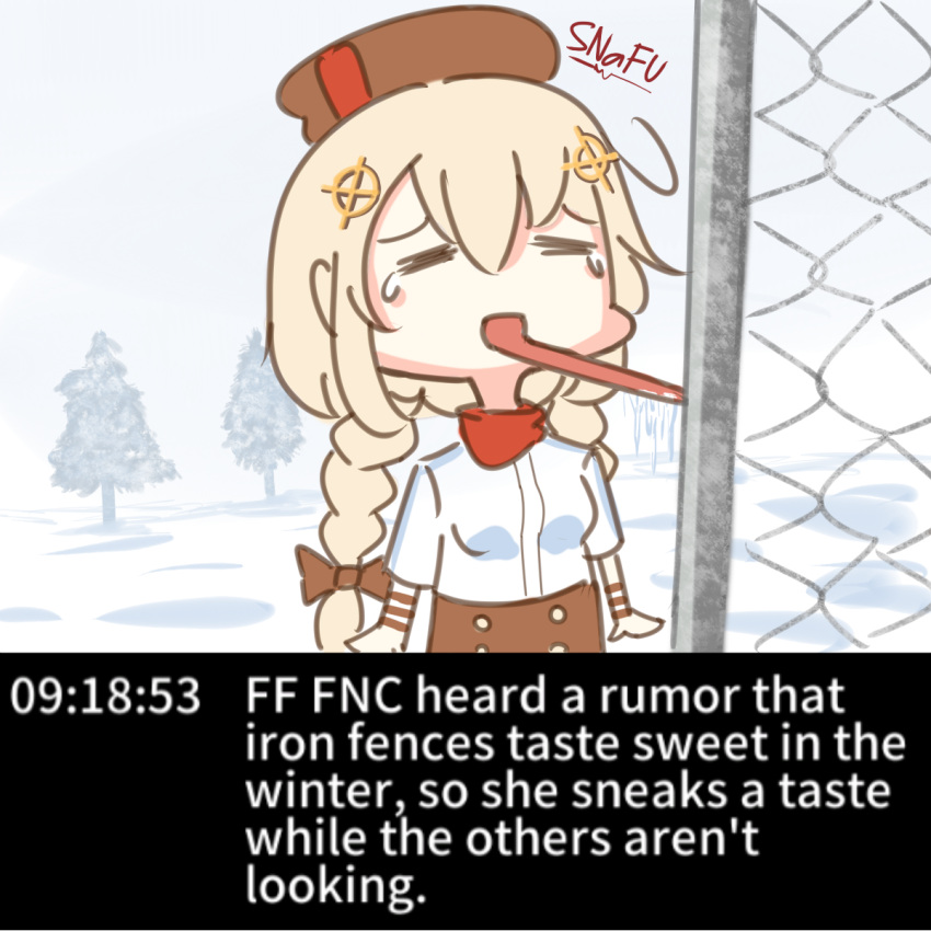 1girl blonde_hair braid breasts closed_eyes commentary english_text fence fnc_(girls_frontline) girls_frontline hair_between_eyes hair_ornament hat highres licking open_mouth snafu snow solo tears tongue tongue_out tree twin_braids