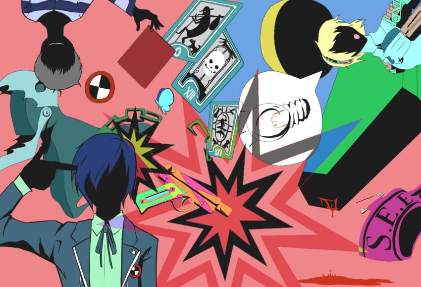 arisato_minato armband card cards falling_card floating_card gun handgun nansei persona persona_3 pharos pistol thanatos weapon