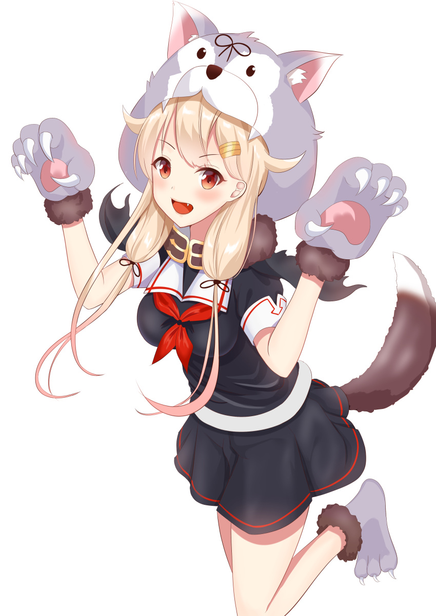 1girl :d absurdres alternate_costume animal_hood black_ribbon black_serafuku blonde_hair blush breasts claws fang gloves hair_flaps hair_ornament hair_ribbon hairclip hands_up highres hood hood_up kantai_collection leg_up long_hair looking_at_viewer low_twintails neckerchief open_mouth paw_boots paw_gloves paws pleated_skirt red_eyes remodel_(kantai_collection) ribbon scarf school_uniform serafuku simple_background skirt sleeve_cuffs smile solo tail twintails white_background yuudachi_(kantai_collection) zuki