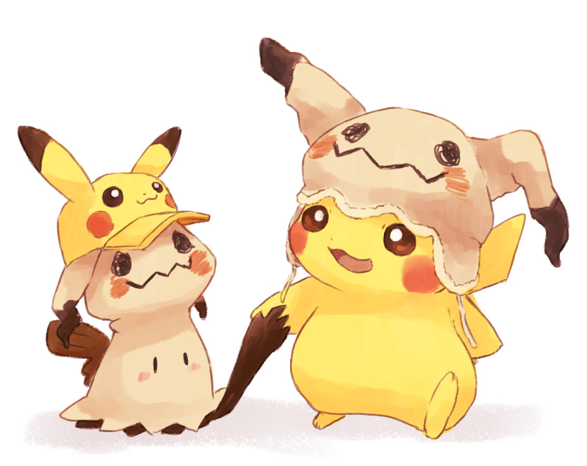 baseball_cap beanie blush_stickers brown_headwear character_hat commentary_request cosplay fur_trim gen_1_pokemon gen_7_pokemon hat hat_with_ears holding_hands looking_at_another mimikyu mimikyu_(cosplay) misonikomiii pikachu pikachu_(cosplay) pokemon pokemon_(creature) print_hat simple_background walking white_background yellow_headwear